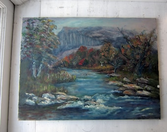 Vintage Signed Oil Painting - Colorful Landscape 18 x 24