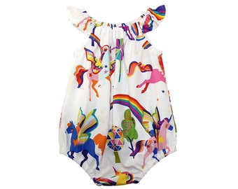 RTS Rainbow Unicorn Romper - Size 3-6 Months - Girls Romper - Baby Romper - Birthday Outfit - Unicorn Birthday - Baby Clothes Ready to Ship