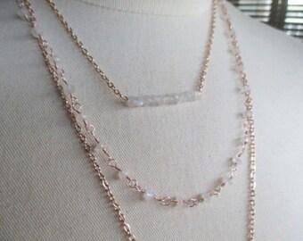 Rose Gold Moonstone Triplet Necklace