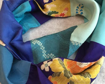 Amazing Embroidered Turquoise silk infinity scarf