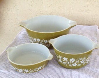 Set of 3 Pyrex Spring Blossom Casserole Dishes