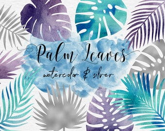 Silver And Watercolor Tropical Leaves ClipArt, Silver & Watercolor Leaf, Watercolor Clipart, Palm Leaves, 11 PNG Leaf Graphics, BUY12FOR15