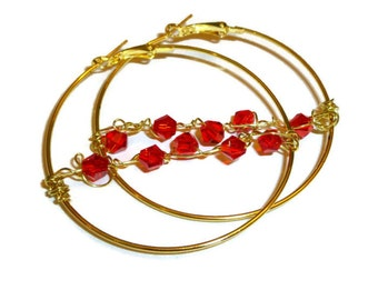 Large Gold Hoop Earrings, Wire Wrapped with Red Glass Beads