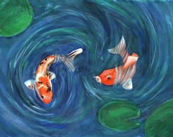 Two Koi Watercolor Print 4x6