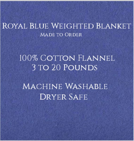 Solid Color, Weighted Blanket, Royal Blue, Up to Twin Size 3 to 20 Pounds.  Calming, Heavy Blanket, SPD, Autism, Weighted Blanket.