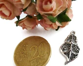 Pendant heart  Antiqued Silver 14X22mm - P101