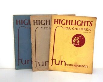 Vintage Highlights kids magazines lot of 3 1948 1950
