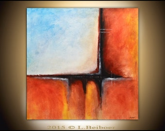 Large Original Abstract Painting Square 36 x 36 orange blue modern art contemporary abstract acrylic painting
