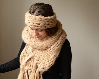 Alpaca Headband and Chunky Knit Scarf Set
