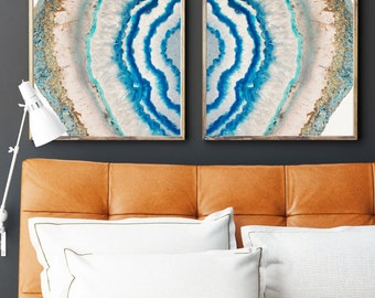 Set of 2 Agate Prints  - Prints (Print #022) - Fine Art Print - Two Paper Choices- Mineral Geode Agate Crystal Decor