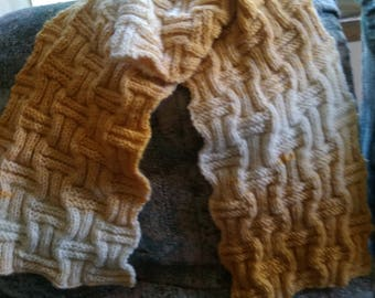Knitted Wool Checkerboard Scarf