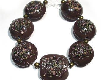 Handmade Lampwork  Glass SRA Beads,  Sprinkles Cocoa Mix