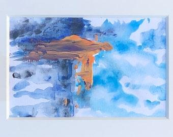 Abstract Multi-Media Original Art - 4 x 6 - On Watercolor Paper