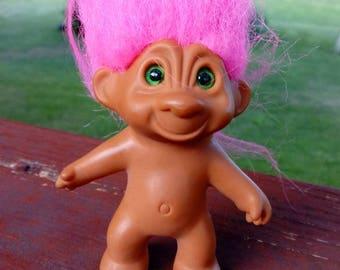 Vintage 1980s Treasure Troll, pink hair, green eyes