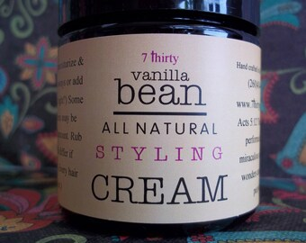 All Natural Styling CREAM - Moisture + Control - Fantastic for Curls! Yummy Vanilla Bean & Peppermint + FREE SHIPPING!