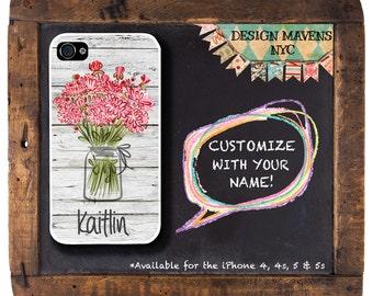 Mason Jar iPhone Case with Monogram, Floral iPhone Case, iPhone 4, 4s, iPhone 5, 5s, 5c, iPhone 6, 6s, 6 Plus, SE, iPhone 7, 7 Plus