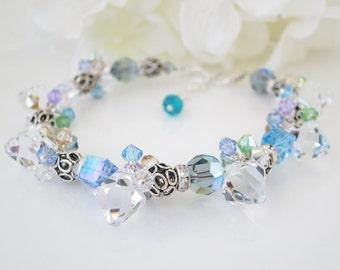 Crystal bracelet, Swarovski blue and gray crystal bracelet, Unique Statement bracelet, Multi color crystal and sterling silver bracelet
