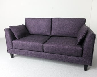 Modern Dollhouse Miniature Purple Sofa Couch 1:12 Scale