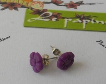purple flower cold porcelain ear studs