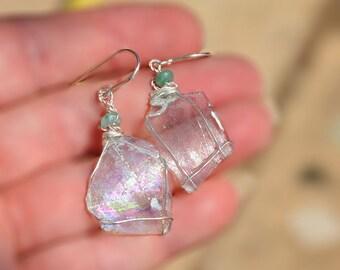 Roman Glass Earrings Roman Glass Jewelry Silver Earrings Thin Transparent Roman Glass Earring Roman Glass from Israel Handmade Free Shipping