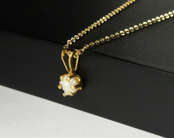 4.5mm Rough Diamond Pendant Necklace - Simple 14K Gold Filled Necklace with White Raw Diamond - Natural Unfinished Conflict Free Diamond
