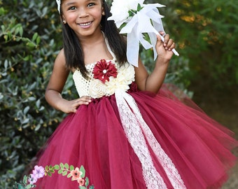 Burgundy Dream-Burgundy flower girl tutu dress with ivory and burgundy flowers and lace accents perfect for Rustic/Country Weddings