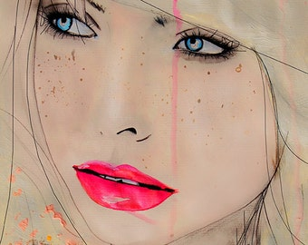 Opulent Speckle - Fashion Illustration Art Print, Portrait, Woman, Mix Media Painting by Leigh Viner