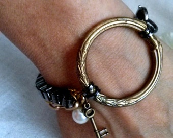 Bohemian Circle Multi-Chained Bracelet - Industrial Chic - Vintage Reclaimed Jewelry - OOAK Ring Bracelet