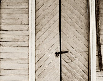 rustic home decor door photography sepia wall art large farmhouse living room print country decor  neutral farm art Locked in the Past