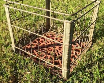 Vintage Metal Milk Crate, Wire Basket, Storage Box, metal and red milk crate