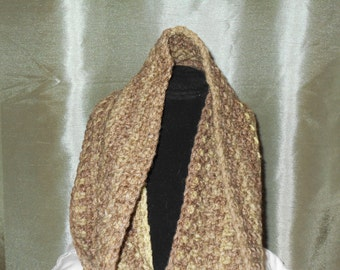 Crochet Wool Cowl, Shades of Green