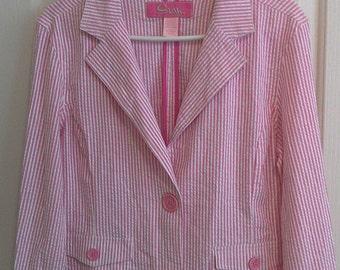 Cute Pink Stripe Blazer Size Large
