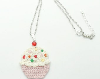 Crochet Necklace, Cupcake Love Necklace