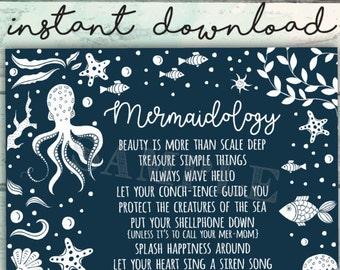 Mermaid Sign, Mermaidology, Rules for Being a Mermaid, Mermaid Art, Advice from a Mermaid, Mermaid Printable, Cute Mermaid Sign