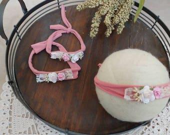 Newborn Tieback Headband, Satin Flower Tieback, Newborn Photo Prop, Floral Crown, Newborn Tie Back Headband, Newborn Halo, Vintage Tieback