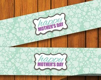 Mason Jar Printable Label / Heart Mason Jar Printable /Mothers Day / Turquoise / Mason Jar / Instant Download / Digital Download / Purple