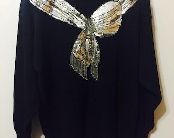 Women's Vintage Sequin Bow Sweater