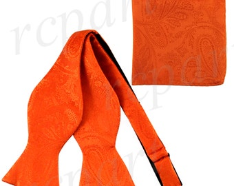 New Men's Paisley Orange Self-Tie Bowtie and Handkerchief, for Formal Occasions