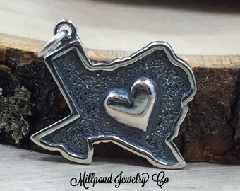 Heart of Texas Charm, Texas Charm, Texas Heart Charm, Texas Pendant, Sterling Silver Texas Charm, Sterling Silver Charm, PS3160