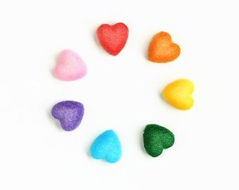 Little Heart Sugar Decorations, Rainbow Heart Cupcake Toppers, Heart Cake Decorations, Rainbow Heart Sugars (21)