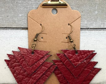 Upcycled red leather triangle earrings