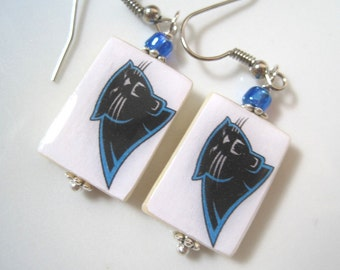 Carolina Panthers. Pro Football. Fanwear. Mother of Pearl Shell Earrings.Handmade.