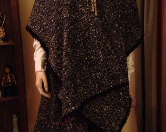 Beautiful Wool Black and White Tweed Skirt and Matching Shawl