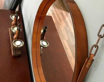 HANDMADE LOFT-living leather mirror various diameters colour light brown