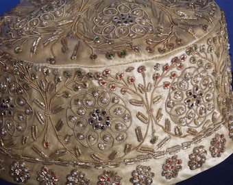 Mid Century Very Ornate Hand Crafted Jeweled Hat with Hat Box Marshall Field