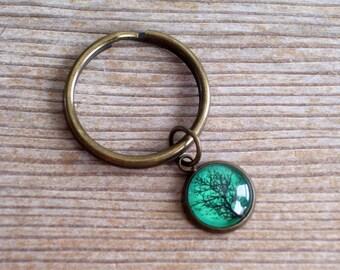 Nature Keychain, Woodland Keychain, Unisex Key Chain, Glass Tree Charm, Bare Tree Keychain, Antiqued Brass Key Chain