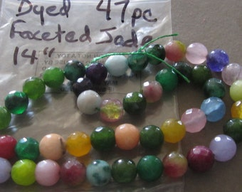 Pretty Dyed Faceted Jade Beads, 14 in. 47 pcs
