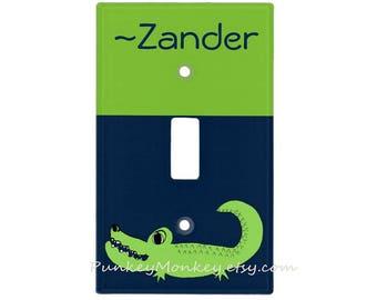 Alligator light switch cover crocodile switchplate kids room decor jungle safari animals boys girls optional name personalized green blue