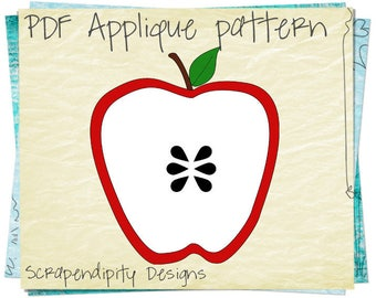 Apple Applique Template - Teacher Applique Pattern / School Shirt Design / Baby Clothing Design / Apple Iron on Transfer / Baby Quilt AP85-D