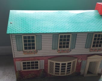 Tin Dollhouse, Marx, Litho, 1950s, vintage dollhouse, metal dollhouse